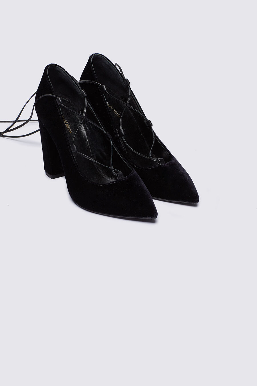 Lace up velvet court shoes