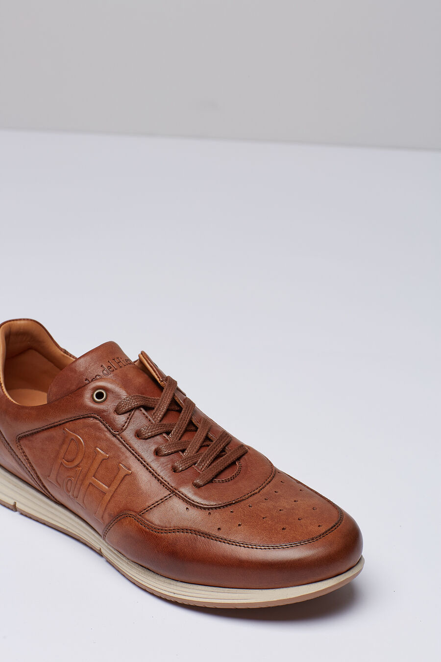 Brushed leather icon sneakers
