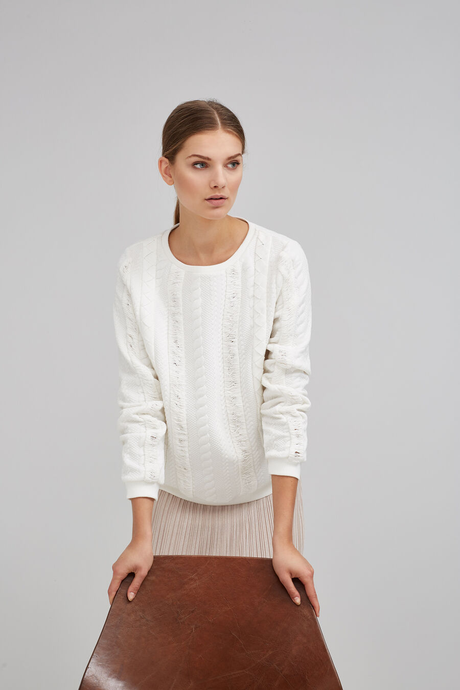 Braided fretwork sweatshirt
