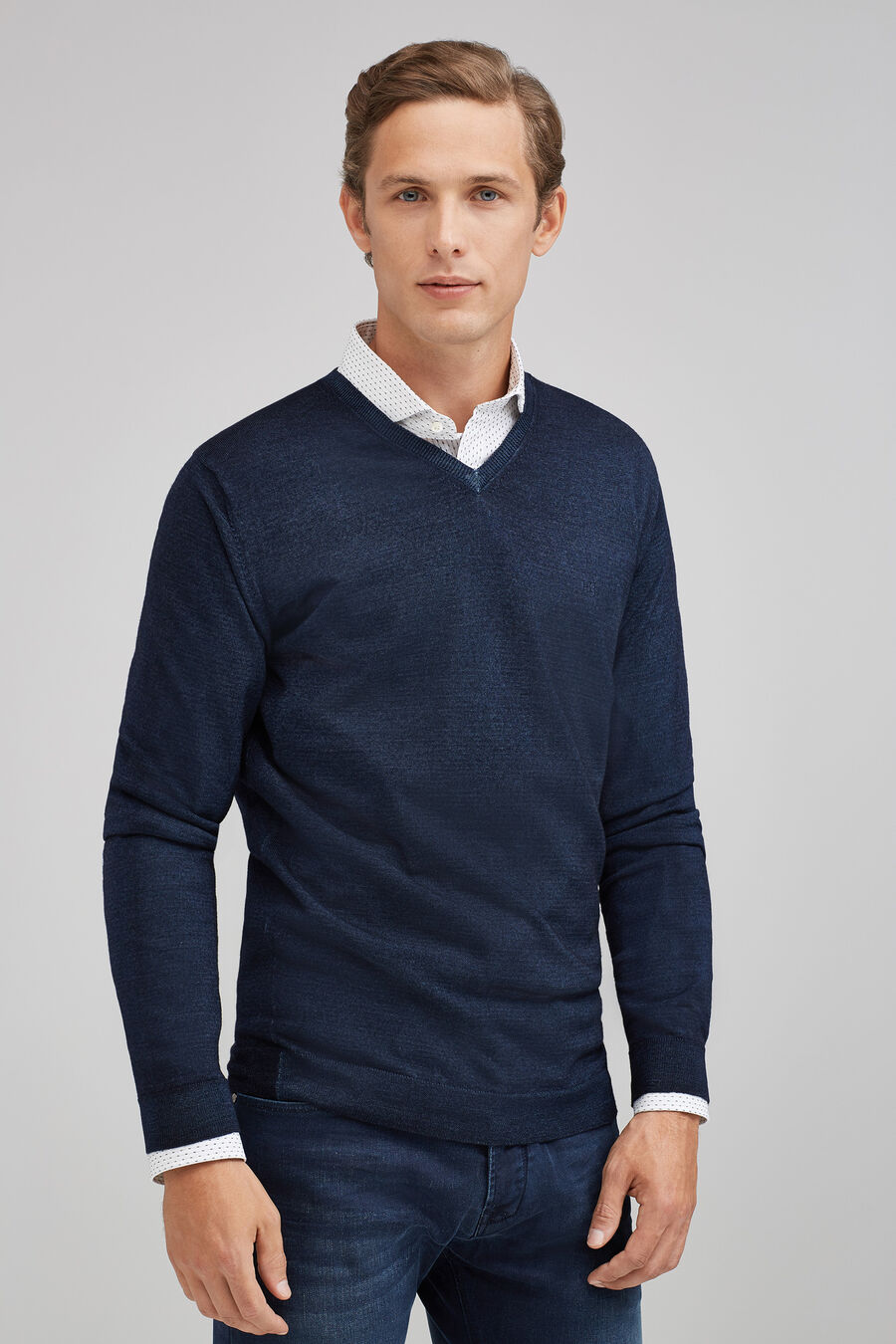 Garment-dyed V-neck sweater