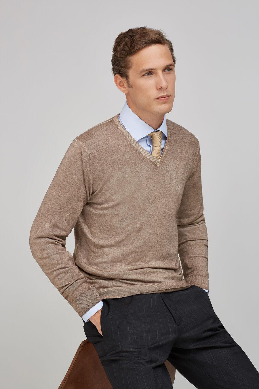 Garment-dyed V-neck sweater