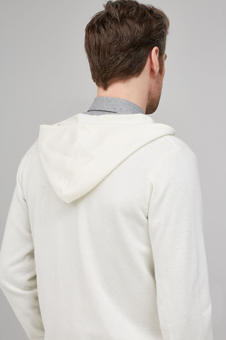 Hooded tricot cardigan
