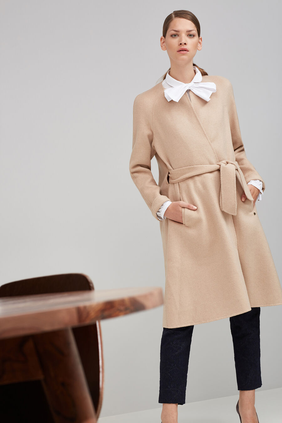 Double-sided coat with belt