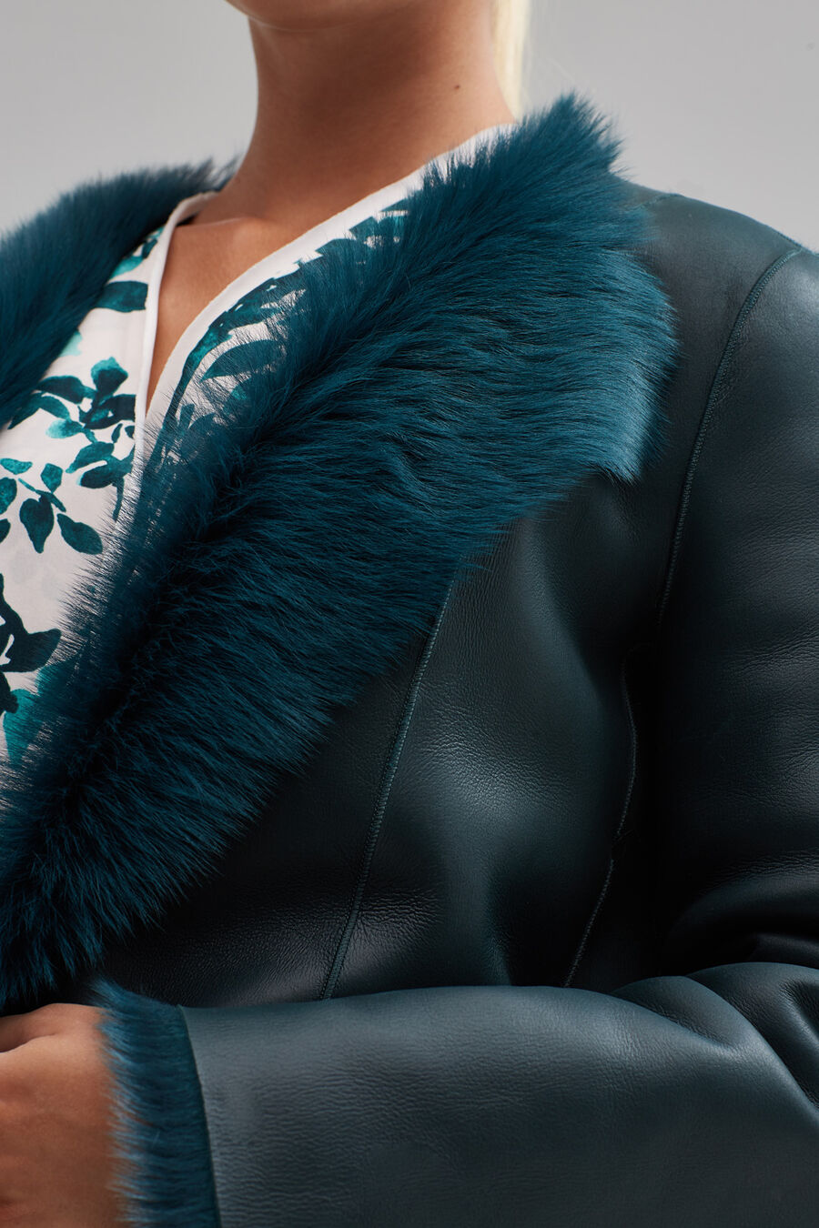 Fur and nappa leather jacket