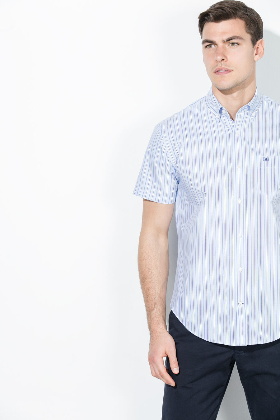 Non-iron striped shirt
