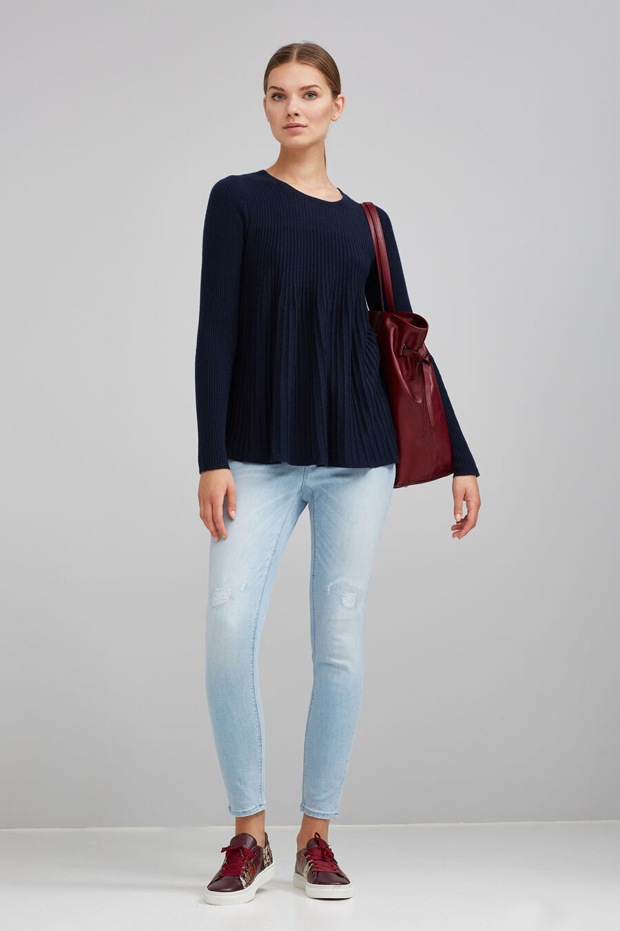 Pleated sweater