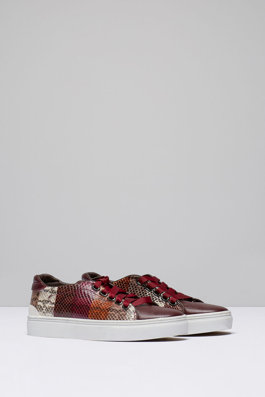Faux snakeskin trainers
