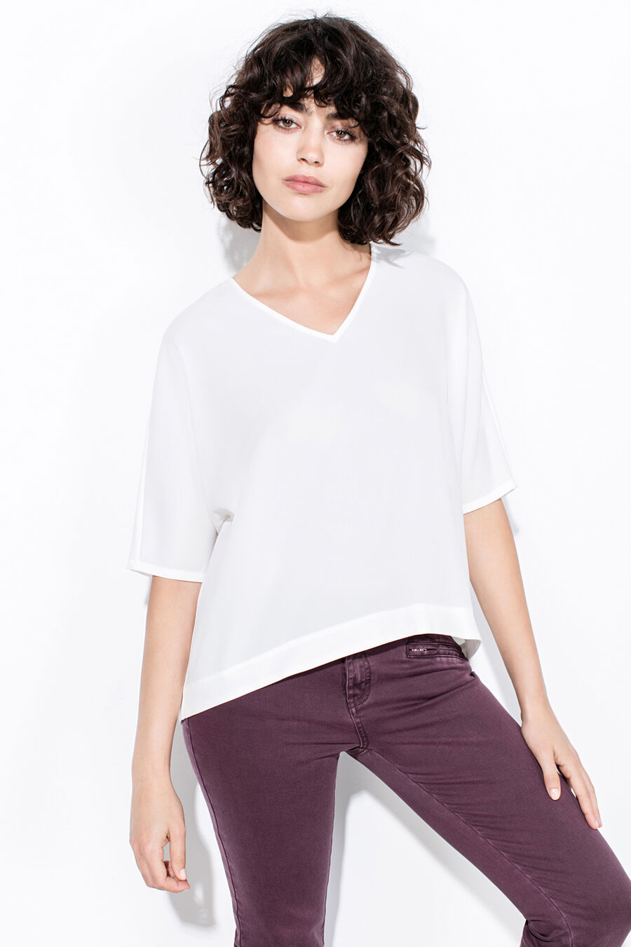 Short V-neck blouse