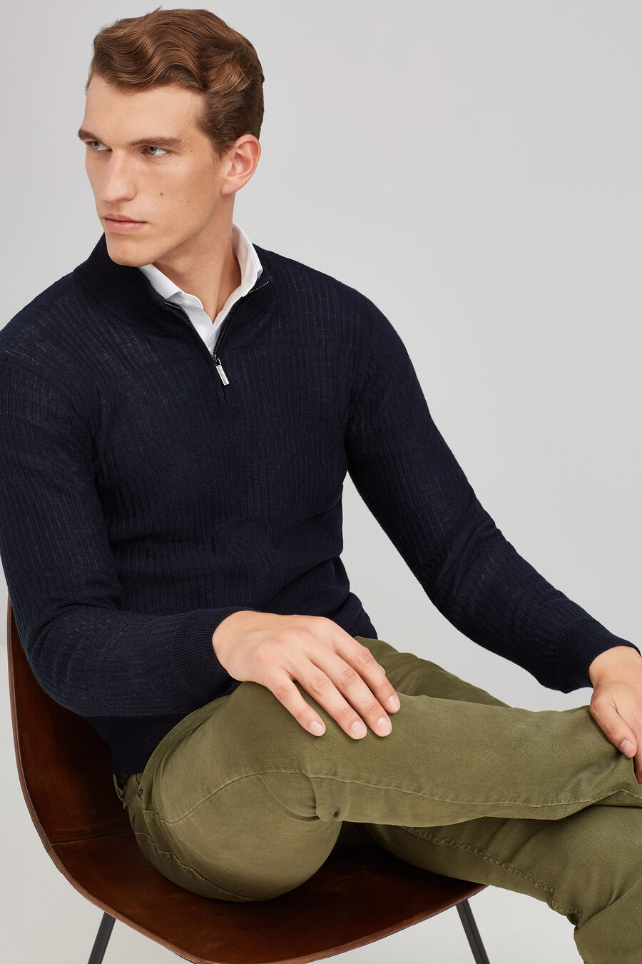 Ribbed knit merino sweater