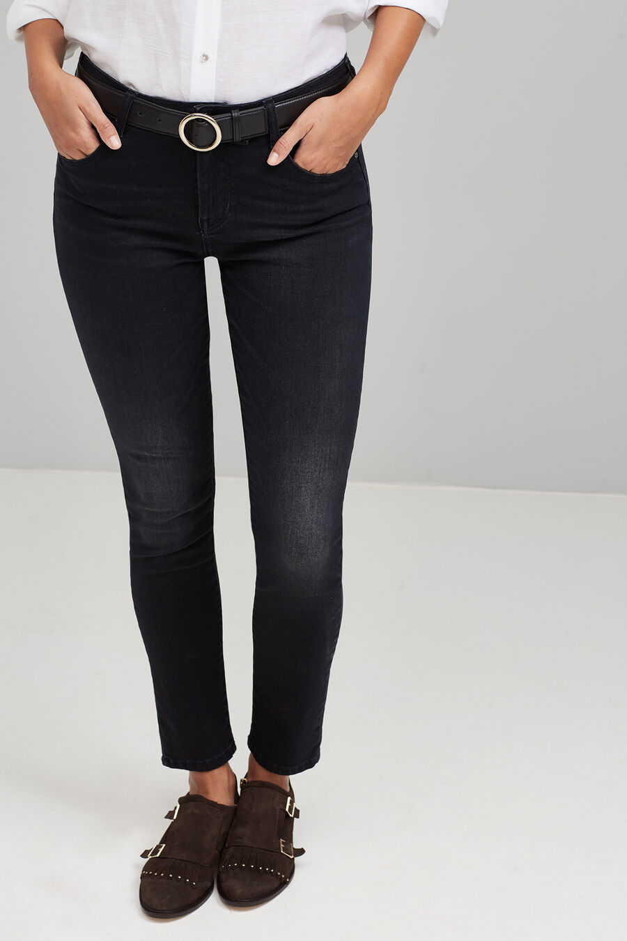 Frayed skinny denim trousers