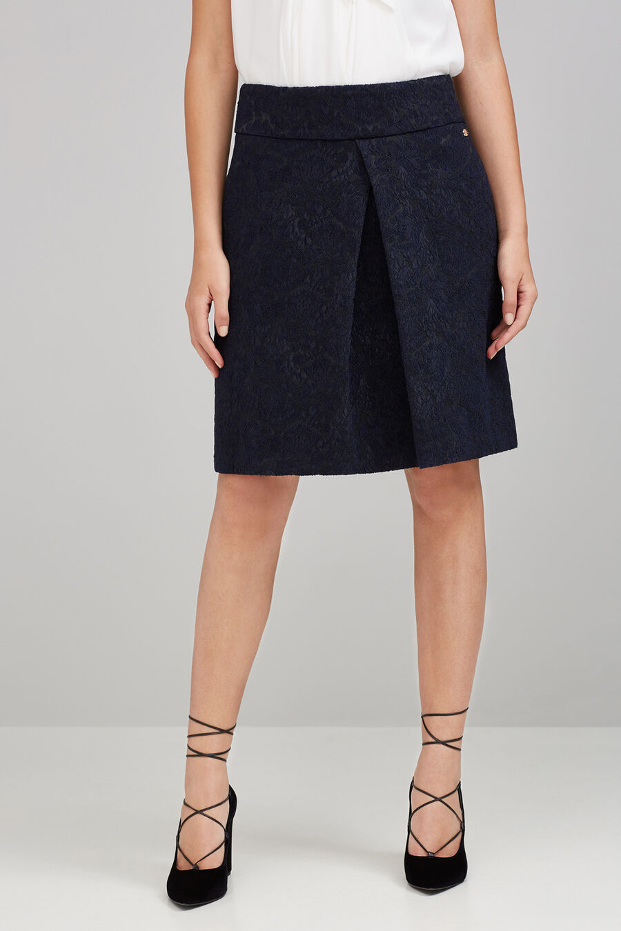 Navy jacquard skirt