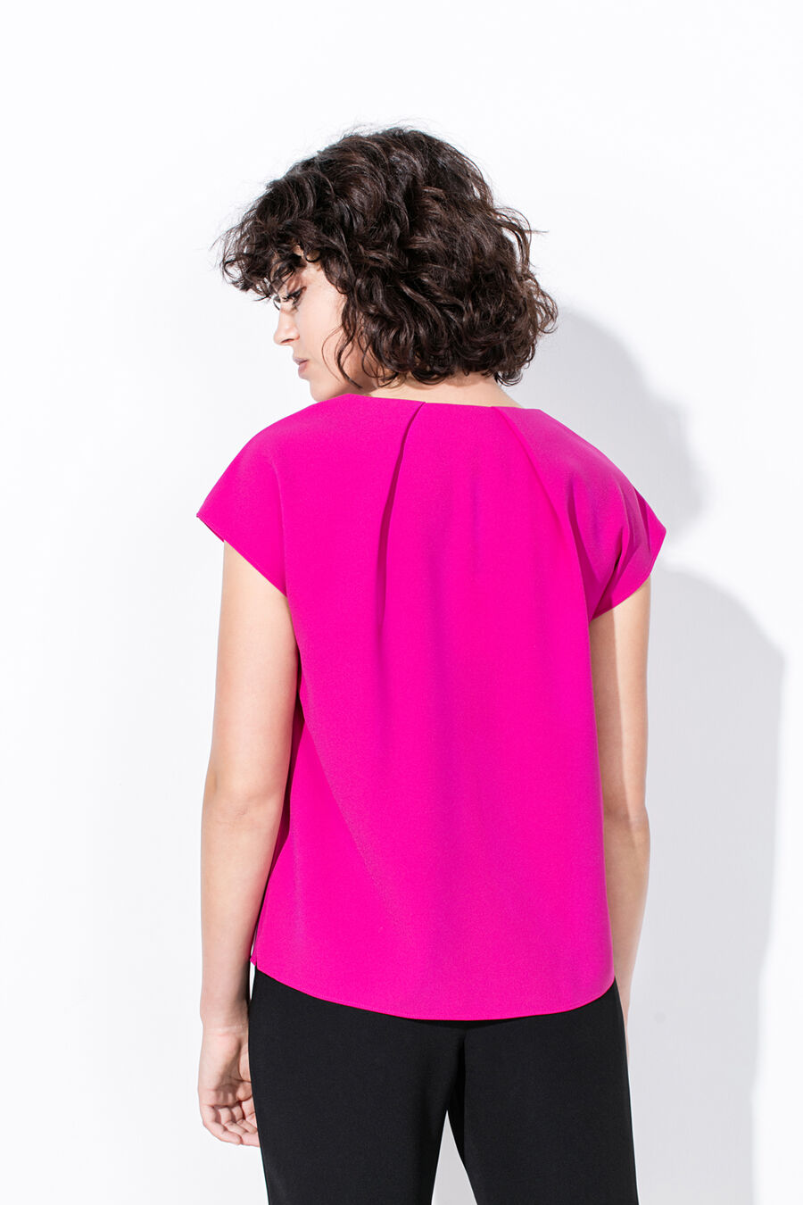 Draped blouse with button