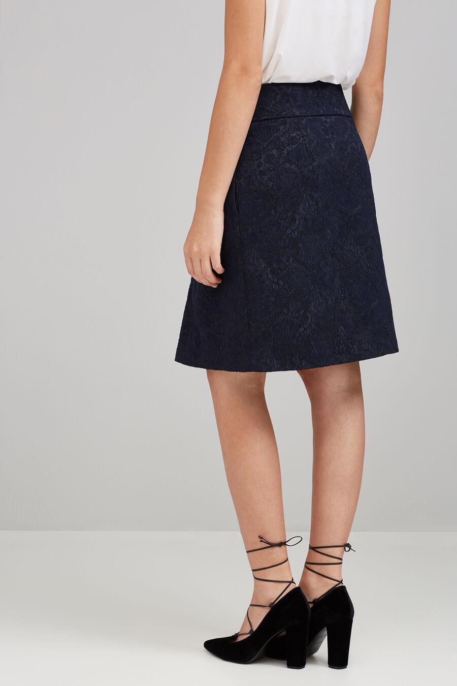 Navy jacquard skirt