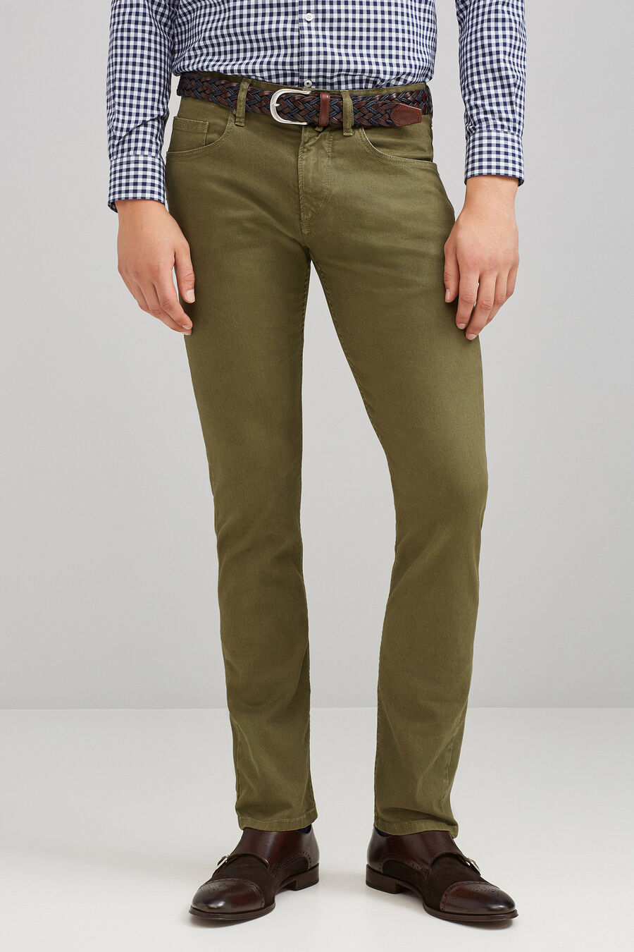 Slim fit coated denim trousers