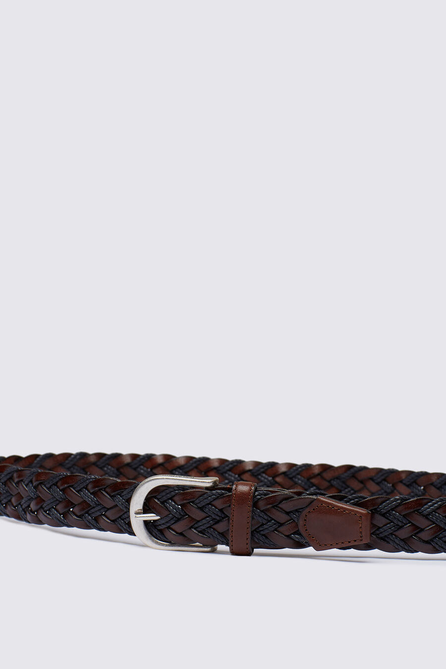 Braided leather and cord belt