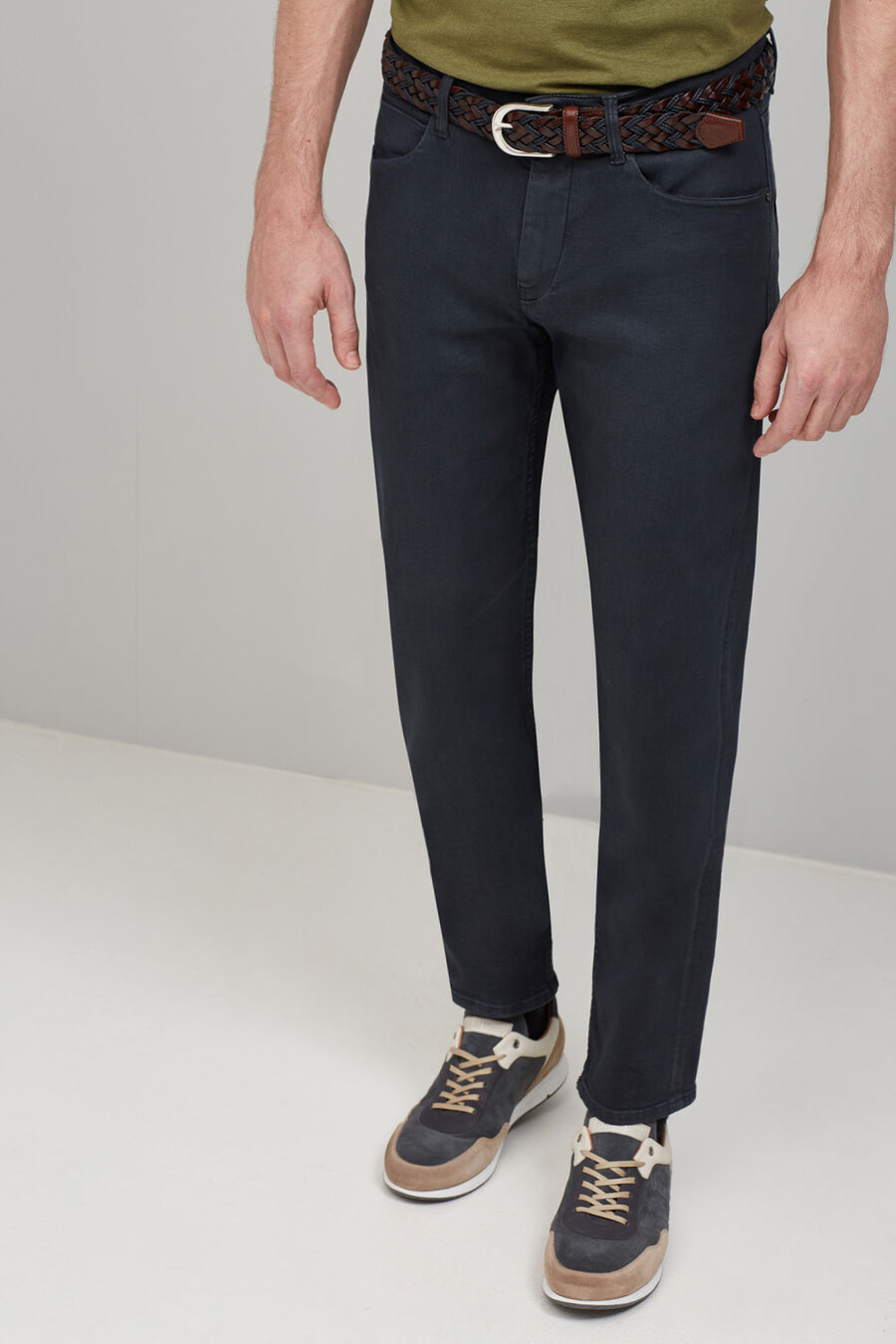 Straight fit coated denim trousers