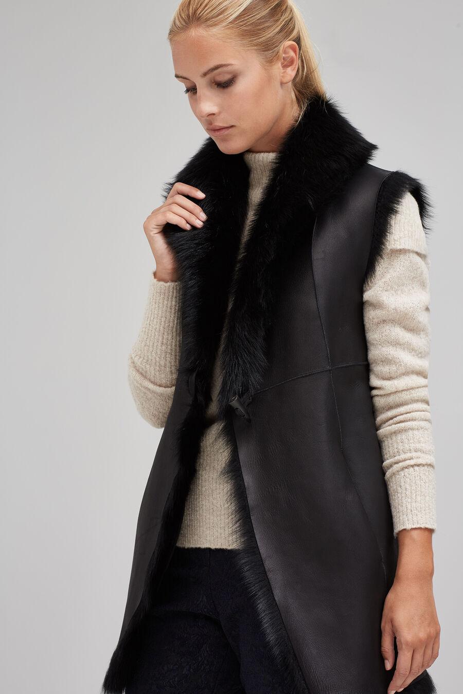 Fur and nappa leather gilet