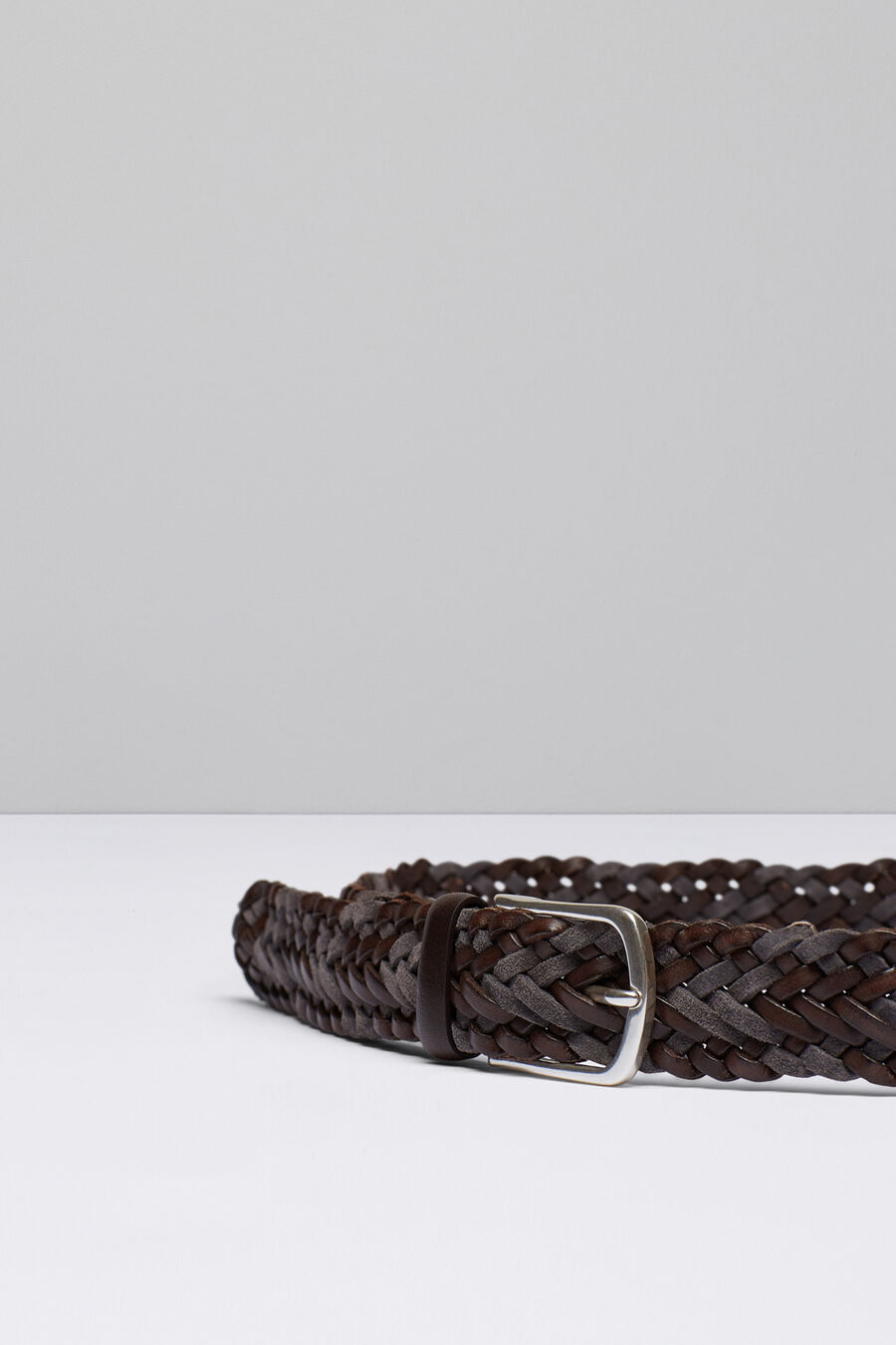 Braided split leather and leather belt