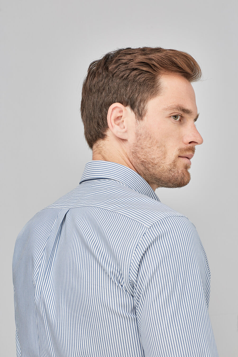 Striped non-iron shirt