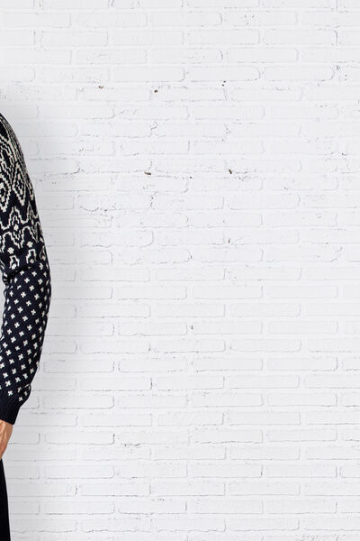 geometric jacquard shawl-collar sweater