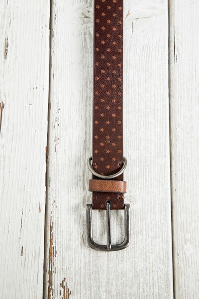 ENGRAVED STARS FAUX LEATHER BELT