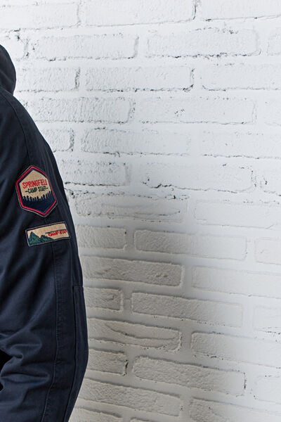 short cotton jacket with patches