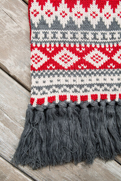 RED, ECRU AND GREY SCARF