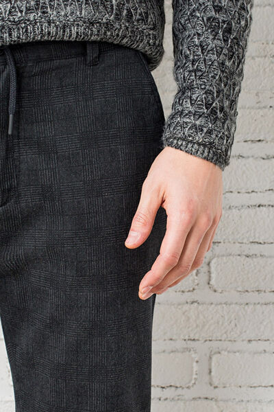 checked woolen trousers