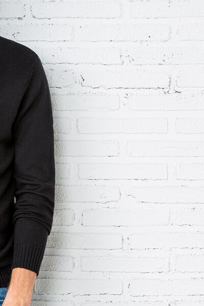 funnel neck sweater with faux leather trims
