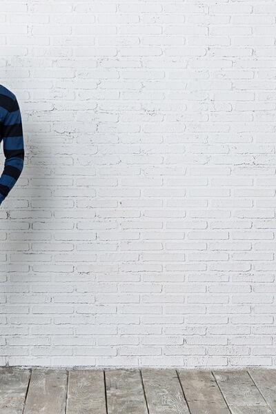 wide-striped crew neck sweater