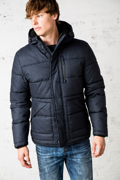 quilted double-collar jacket with hood