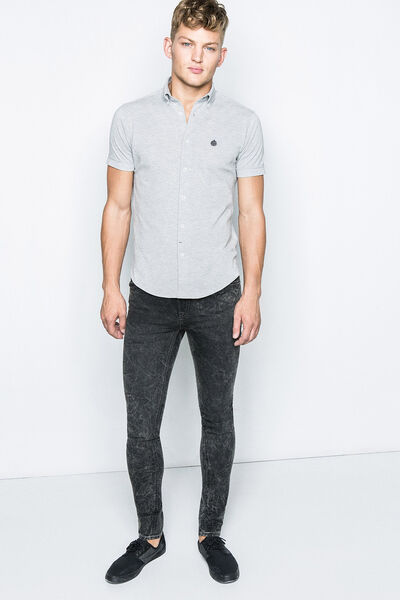 GREY PIQUÉ COTTON SHIRT