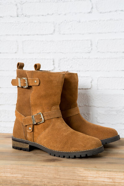 SUEDE MOTO BOOTS