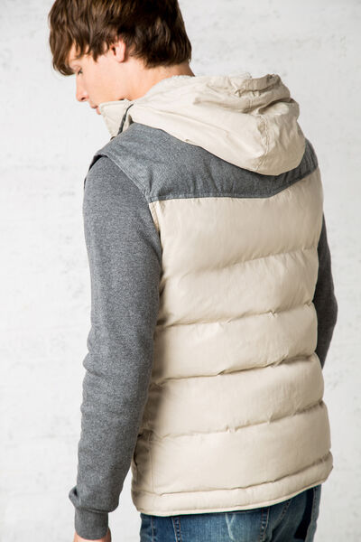 quilted vest with contrasting hood