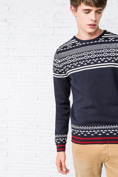 geometric jacquard sweater