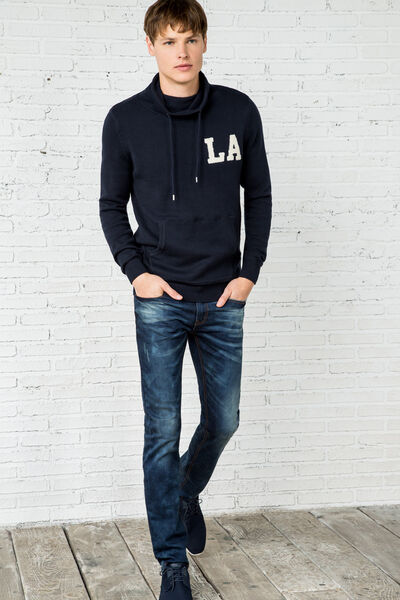 funnel neck city-print sweater