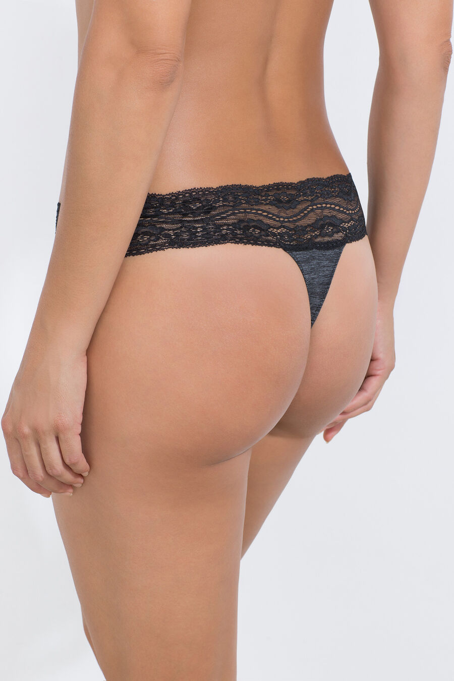 Micro structure thong with lace