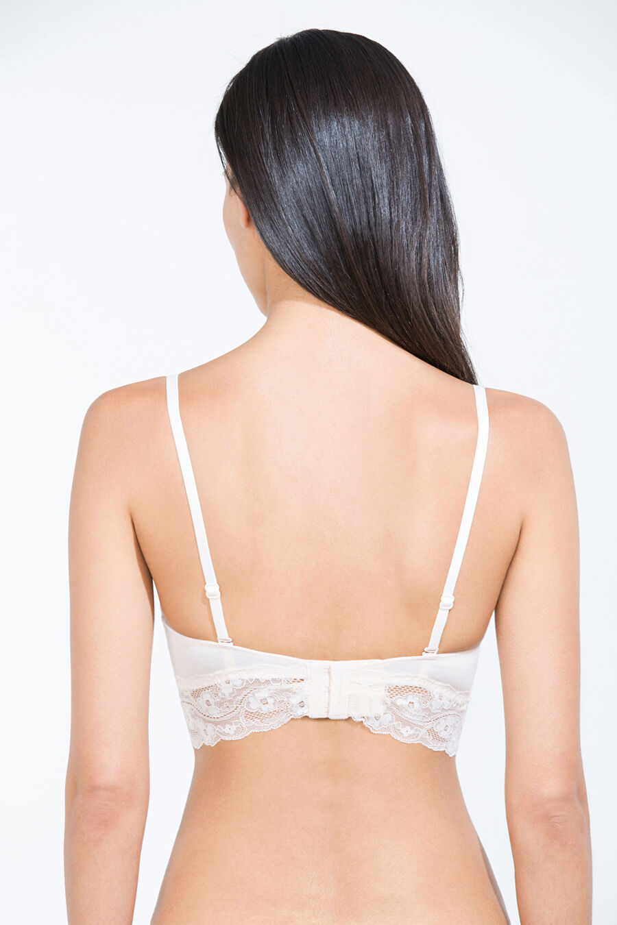 Cotton and lace padded bra