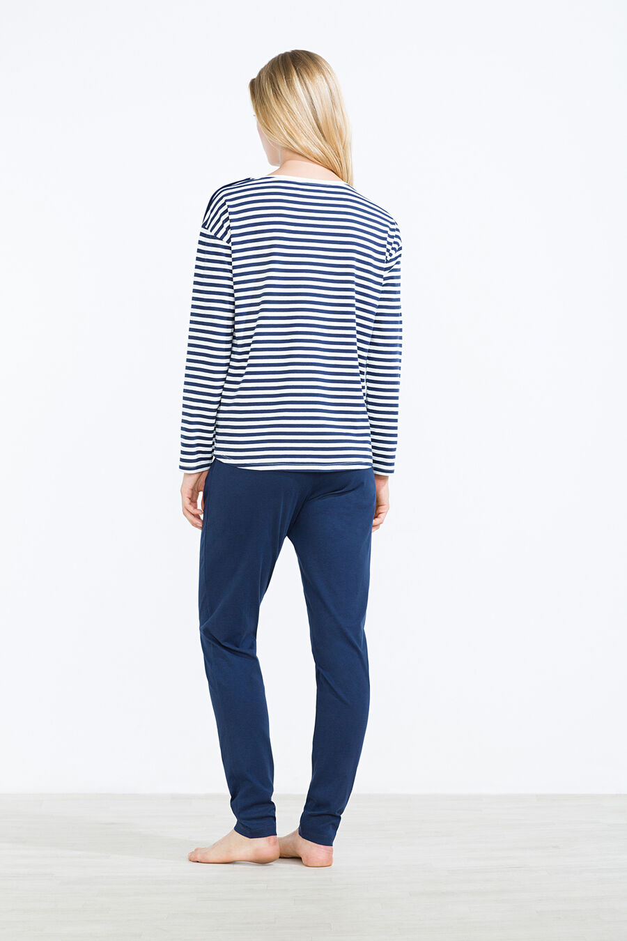 Navy stripes long pyjama