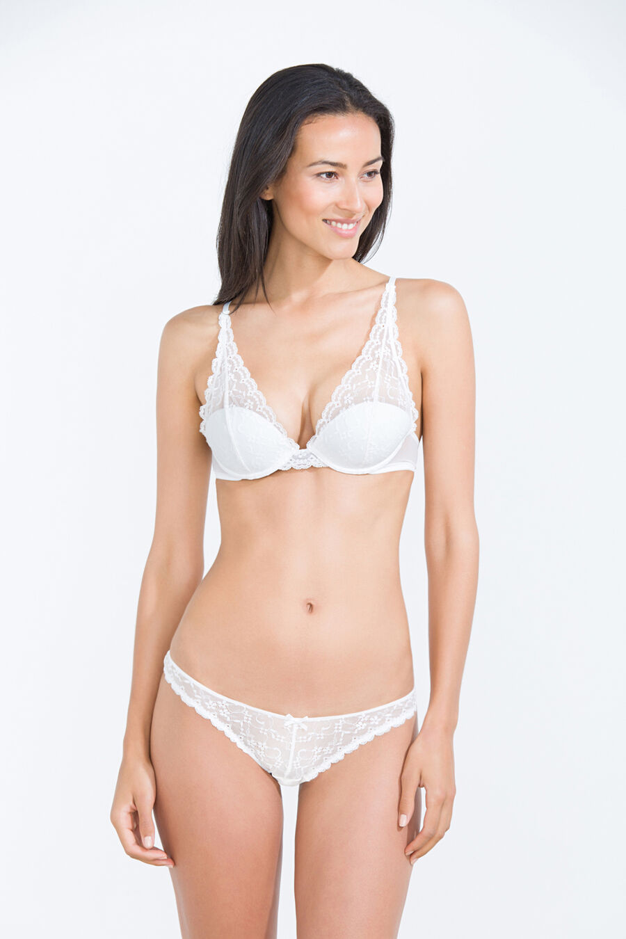 Lace and mesh padded triangle bra