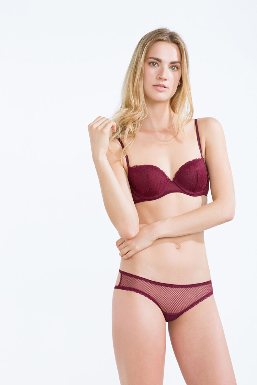 Lace and mesh padded balconette bra