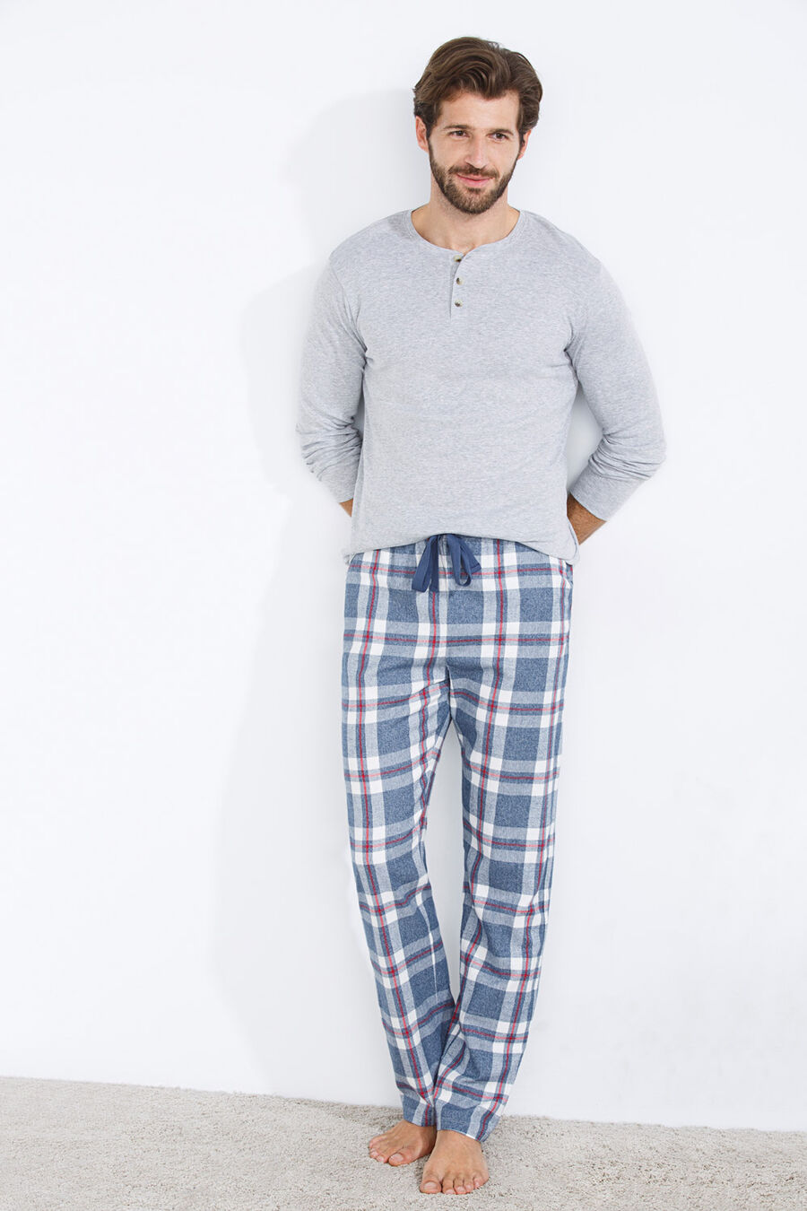 Long checked cotton pyjama