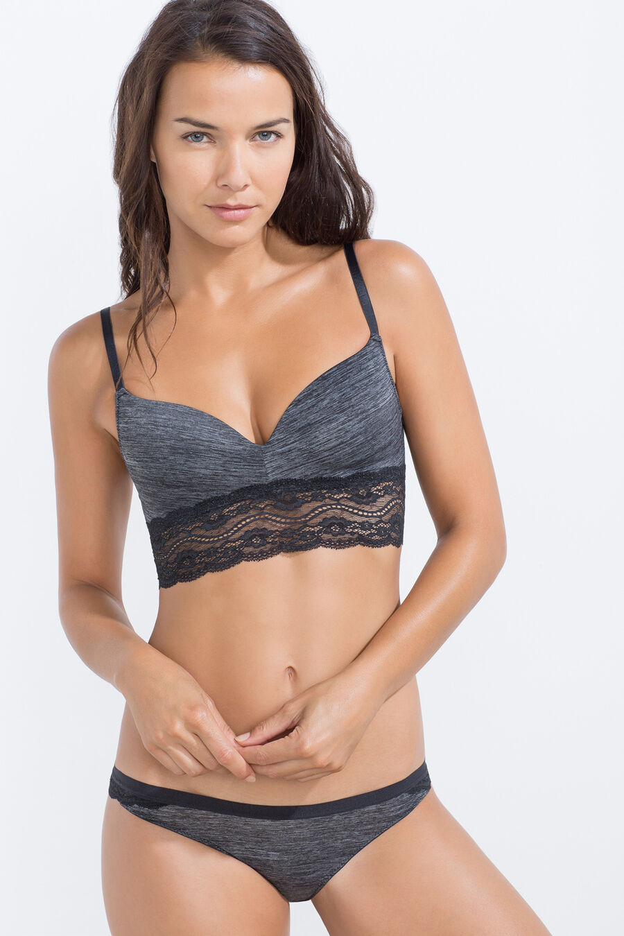 Micro structure and lace padded bra