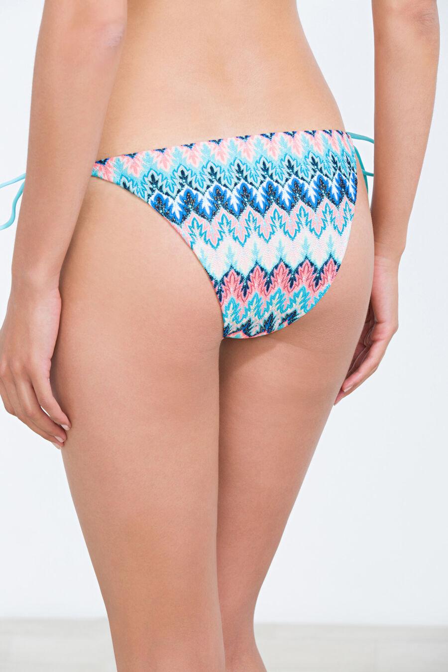 Tie-side printed bikini bottom