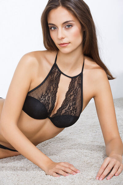 Halter bra with lace