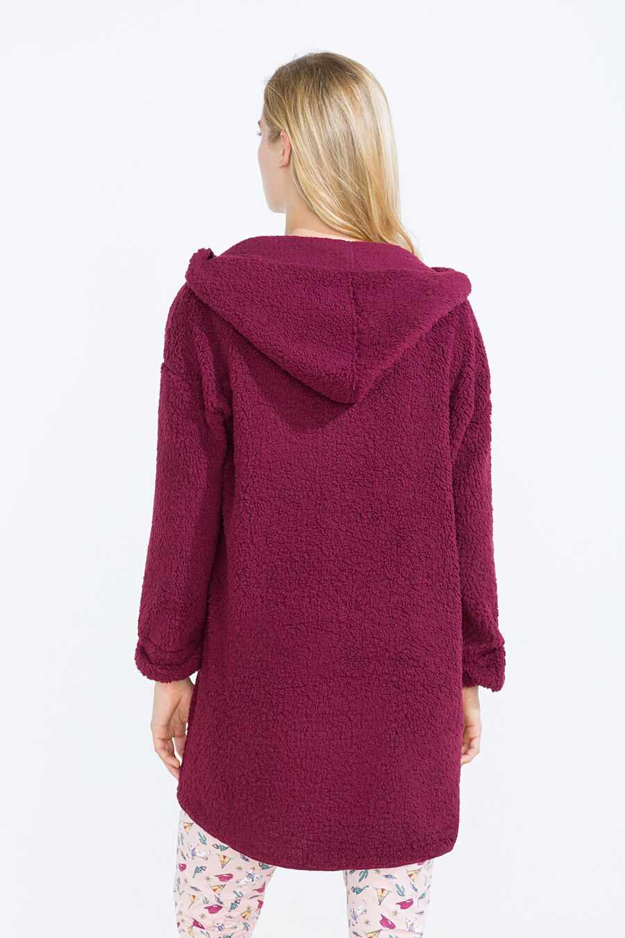 Faux shearling hooded robe