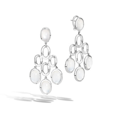 Bamboo Chandelier Earring in Silver with Gemstone