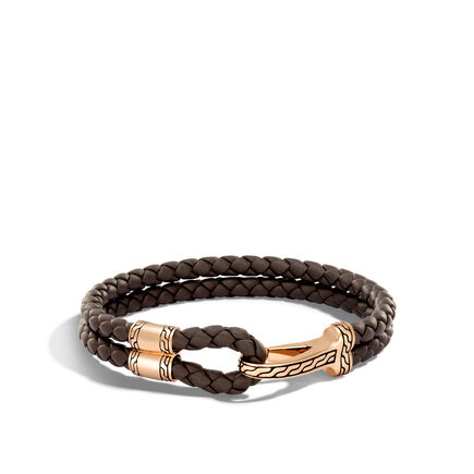 Classic Chain Station Bracelet in Bronze and Leather
