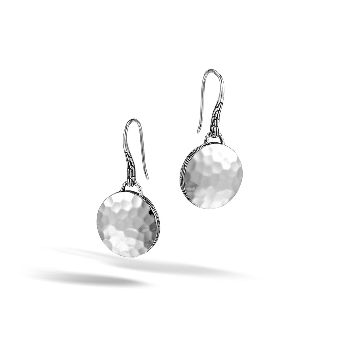 Dot Drop Earring in Hammered Silver