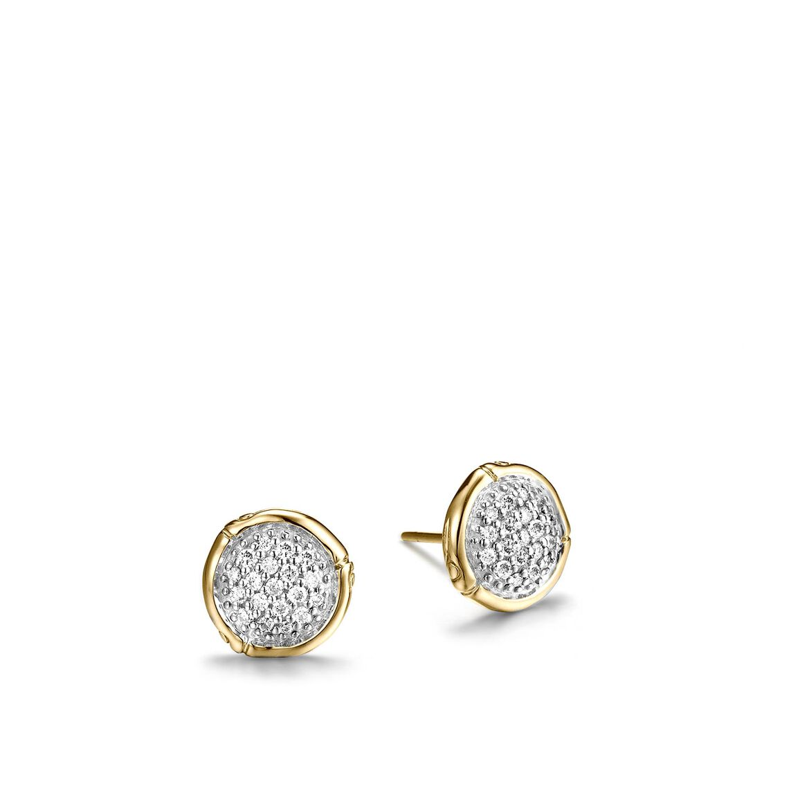 Bamboo Stud Earring in 18K Gold with Diamonds